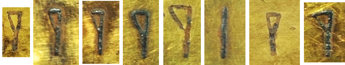 Examples of the letter i on the inscribed object StH 550